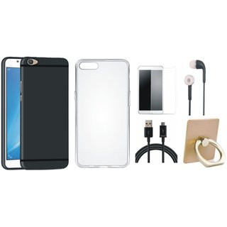 Oppo A57 Silicon Anti Slip Back Cover with Ring Stand Holder, Silicon Back Cover, Earphones, Tempered Glass and USB Cable
