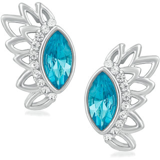 Parisha Jewells Rhodium Plated Beautiful Sky Blue Marquise Crystal inspired Earrings for girls and women ER9007009