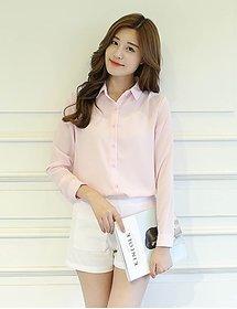 Fabrange Women's Elegant Pink Polyester Shirt