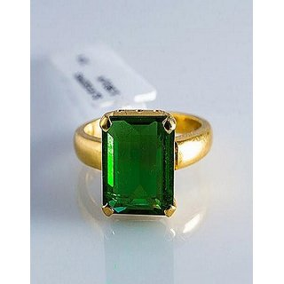 Emerald Ring Panna Natural  Unhetaed Copper Plated Adjustable Ring Jaipur Gemstone