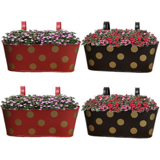 Heaven Decor Metal Oval Shape Railing Planter ,Railing Flower Garden Pots and Wall Planters for Balcony Set Of 4 (Red And Brown)