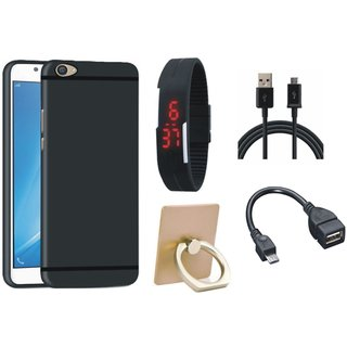 Samsung J7 Prime Silicon Anti Slip Back Cover with Ring Stand Holder, Digital Watch, OTG Cable and USB Cable