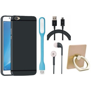 Samsung J7 Prime Back Cover with Ring Stand Holder, Earphones, USB LED Light and USB Cable