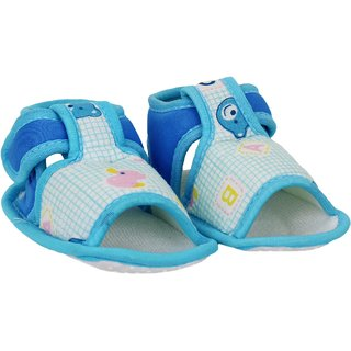 Neska Moda Baby Boys & Girls Blue Checks Cotton Velcro Booties For 0 To 12 Months-Anti Slip