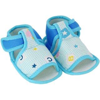 Neska Moda Baby Boys  Girls Blue Checks Cotton Velcro Booties For 0 To 12 Months Anti Slip
