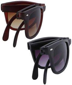 Austin Black And Brown Uv Protection Wayfarer Unisex Combo Sunglasses