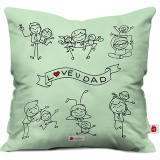 Indigifts Papa Gift Anniversary Love You Dad Quote Children Fun Time With Father Green Cushion Cover