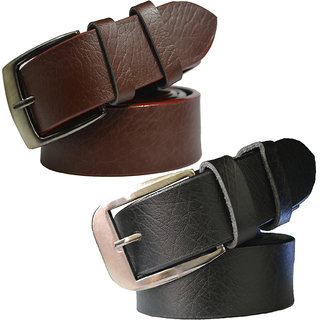 Sunshopping mens brown and black leatherite needle pin point buckle belt (Combo) (Synthetic leather/Rexine)