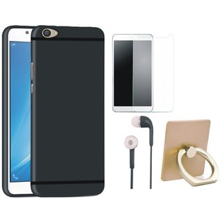 Vivo V9 Stylish Back Cover with Ring Stand Holder, Earphones and Tempered Glass