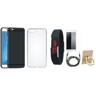 Oppo F7 Soft Silicon Slim Fit Back Cover with Ring Stand Holder, Free Digital LED Watch, Tempered Glass and AUX Cable