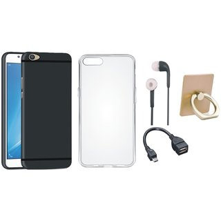 Oppo F7 Soft Silicon Slim Fit Back Cover with Ring Stand Holder, Silicon Back Cover, Earphones and OTG Cable