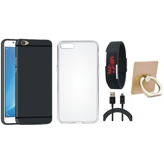 Oppo F7 Soft Silicon Slim Fit Back Cover with Ring Stand Holder, Silicon Back Cover, Digital Watch and USB Cable