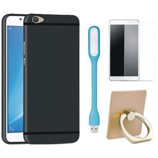 K8 Plus Soft Silicon Slim Fit Back Cover with Ring Stand Holder, Tempered Glas and USB LED Light