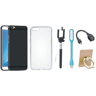 Oppo F7 Silicon Slim Fit Back Cover with Ring Stand Holder, Silicon Back Cover, Selfie Stick, LED Light and OTG Cable