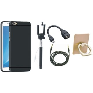 Samsung C7 Pro Soft Silicon Slim Fit Back Cover with Ring Stand Holder, Selfie Stick, OTG Cable and AUX Cable