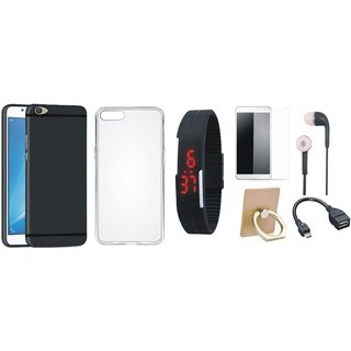 Oppo F7 Silicon Slim Fit Back Cover with Ring Stand Holder, Free Digital LED Watch, Tempered Glass, Earphones and OTG Cable