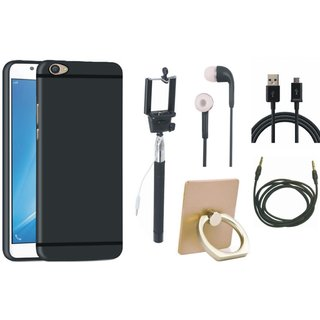Samsung C7 Pro Soft Silicon Slim Fit Back Cover with Ring Stand Holder, Selfie Stick, Earphones, USB Cable and AUX Cable