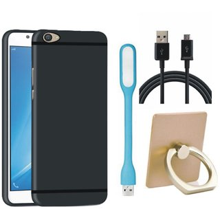 Samsung C7 Pro Silicon Slim Fit Back Cover with Ring Stand Holder, USB LED Light and USB Cable