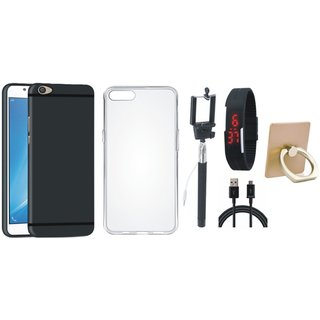 Oppo F7 Silicon Anti Slip Back Cover with Ring Stand Holder, Silicon Back Cover, Selfie Stick, Digtal Watch and USB Cable