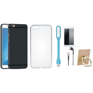 Samsung C7 Pro Stylish Back Cover with Ring Stand Holder, Silicon Back Cover, Tempered Glass, Earphones and USB LED Light