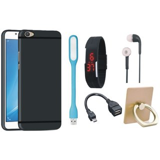 Samsung C7 Pro Silicon Anti Slip Back Cover with Ring Stand Holder, Digital Watch, Earphones, USB LED Light and OTG Cable