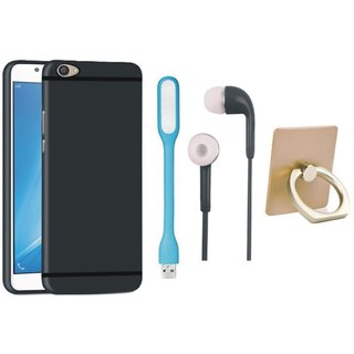 Samsung C7 Pro Back Cover with Ring Stand Holder, Earphones and USB LED Light