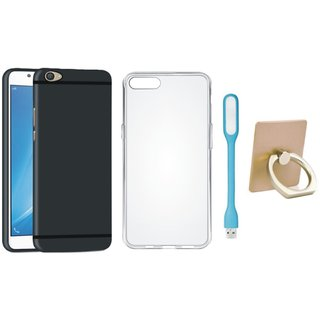Samsung C7 Pro Back Cover with Ring Stand Holder, Silicon Back Cover, USB LED Light