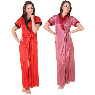 Temfen  Satin Full Robe combo Pack 2