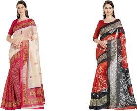 Florence Women's Bhagalpuri Combo Of 2 of 2 Saree (FL-71zbLnyVErL.UL1500-BHANDHANI04)