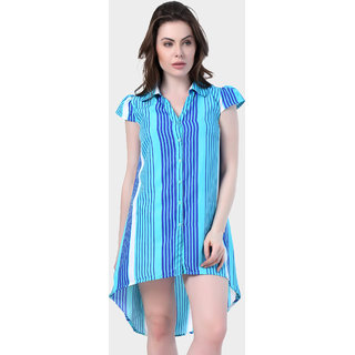 Klick2Style Cap Sleeve Shirt Collar Stripe Print Crepe Dress