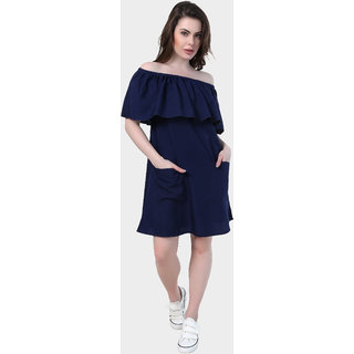 Klick2Style  Cold Shoulder Crepe Dress Navy