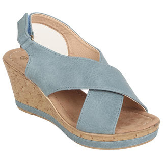 Estatos Womens Blue Wedges