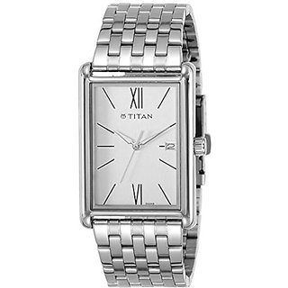 Titan Analog Silver Rectangle Mens Watch-1731SM01
