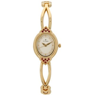 Titan Analog White Oval Womens Watch-2468YM05