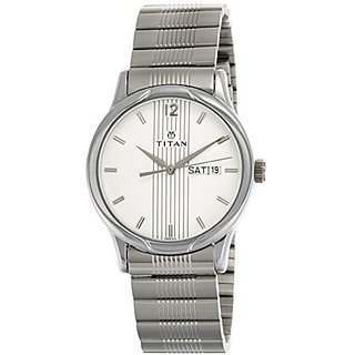 Titan Analog Silver Rectangle Mens Watch-1580SM03