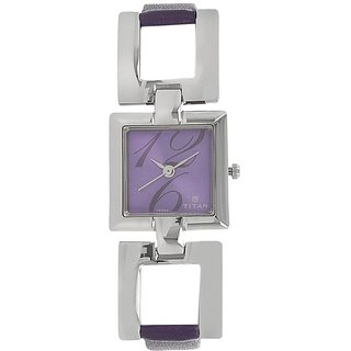 Titan Analog Purple Square Womens Watch-2484SL03