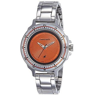 Fastrack Analog Orange Round Womens Watch-6135SM02