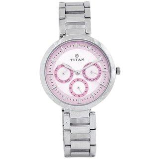Titan Analog-Digital Pink Round Womens Watch-2480SM05