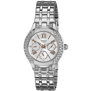 Casio Sheen Analog White Dial Womens Watch - SHE-3809D-7AUDR (SX175)
