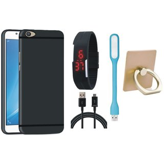 Motorola Moto E4 Soft Silicon Slim Fit Back Cover with Ring Stand Holder, Digital Watch, USB LED Light and USB Cable