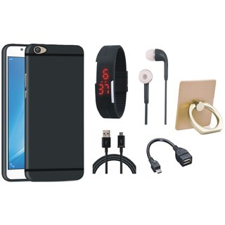 Samsung C9 Pro Soft Silicon Slim Fit Back Cover with Ring Stand Holder, Digital Watch, Earphones, OTG Cable and USB Cable