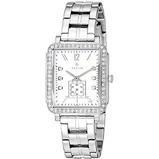 Titan Analog White Dial Womens Watch-NK95042SM01
