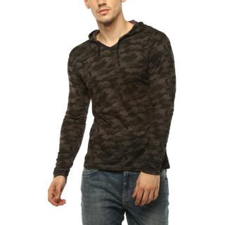 Urbano Fashion Men's Military Camouflage Dark Grey Hooded Full Sleeve Cotton T-Shirt