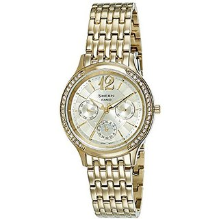Casio Analog Gold Round Womens Watch-SX112