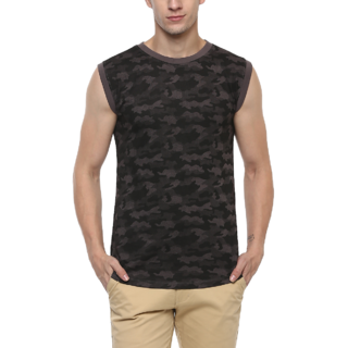 Urbano Fashion Men's Military Camouflage Dark Grey Sleeveless Cotton T-Shirt