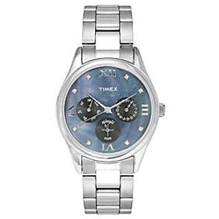 Timex Analog Blue Round Womens Watch-TW000W206