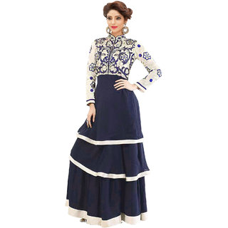 for women's ( FASHION CARE Present Resham embroidered with Stone work Georgette Semi-Stitched Anarkali Suit for women's color Top - Navy Bluewhite Bottom - Navy Blue Dupatta - Navy Blue Occasion - party wearoccasion wearfestival wearspecial l