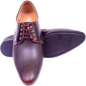 Aanya Mens Copper Brown Synthetic Leather Formal Shoes