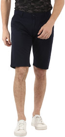 Urbano Fashion Men's Solid Navy Blue Cotton Chino Shorts (Size : 28)