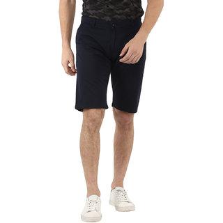 Urbano Fashion Men's Solid Navy Blue Cotton Chino Shorts
